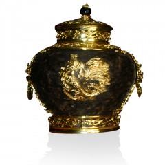 工艺茶雕茶罐--金罐