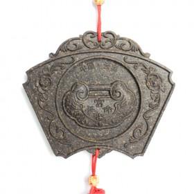 扇形长命锁茶雕挂件,云南特色茶雕小饰品