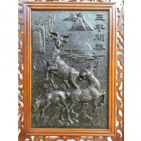 三羊开泰主题茶雕屏风,云南的普洱茶礼品
