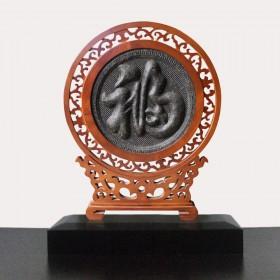福字屏风普洱茶工艺品,云南茶雕厂家的经典之作