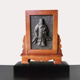 关公主题屏风茶雕,人物为蓝图的普洱茶工艺品