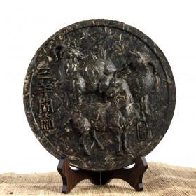 三羊开泰茶雕(圆形),普洱茶中的普洱茶工艺品