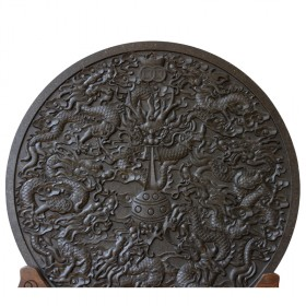 九龙戏珠圆盘茶雕摆件